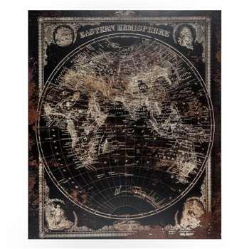 Eastern Hemisphere Print - Dark (100 x 100cm)
