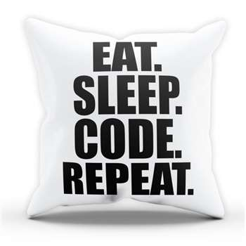 Eat Sleep Code Pillow Cushion Cover Case (H40 x W40cm)