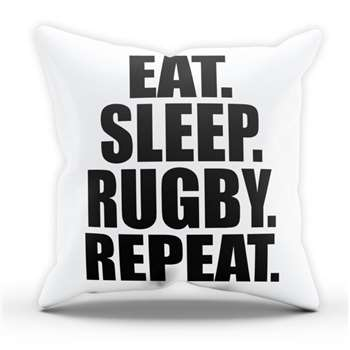 Eat Sleep Rugby Pillow Cushion Cover Case (H40 x W40cm)