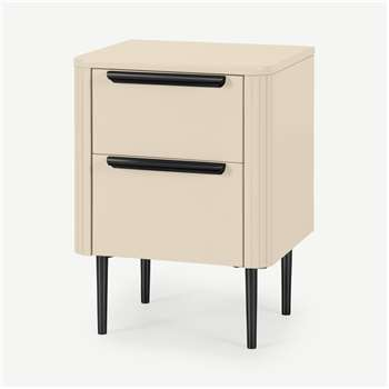 Ebro Bedside Table, Ivory White & Black (H59 x W43 x D40cm)