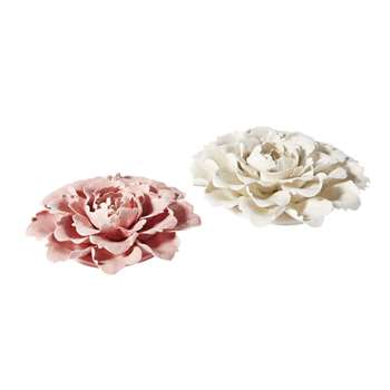 ECHEVERIA - 2 Pink and Ecru Flower Ornaments (H31 x W31 x D7.5cm)