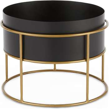 Echo Free Standing Round Low Zinc Powdercoated Plant Stand, Black & Metallic Gold (H28 x W37 x D37cm)