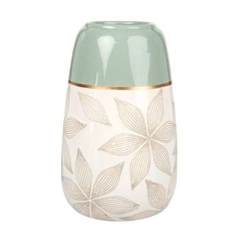 Ecru and Almond Green Ceramic Vase with Engraved Floral Print (H22 x W13 x D13cm)