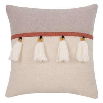 Ecru and Grey Cotton Cushion Cover (H40 x W40cm)