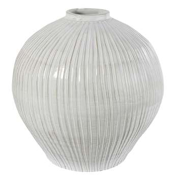 ECUME - Spherical White Terracotta Vase (H48.5 x W50 x D50cm)