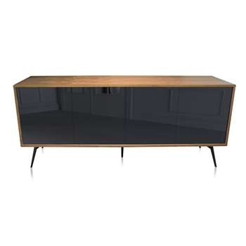 EDAN - Black 2-Door Sideboard with Metal Legs (H75 x W180 x D50cm)