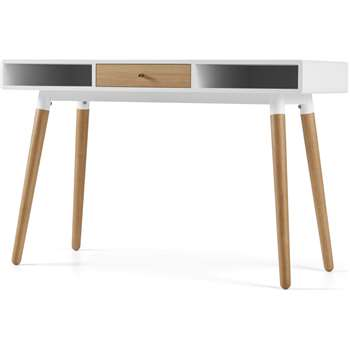Edelweiss Desk, Oak and White (H77 x W120 x D50cm)
