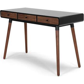 Edelweiss Desk, Walnut and Black (77 x 120cm)