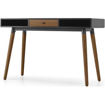Edelweiss Desk, Walnut and Black (H77 x W120 x D50cm)