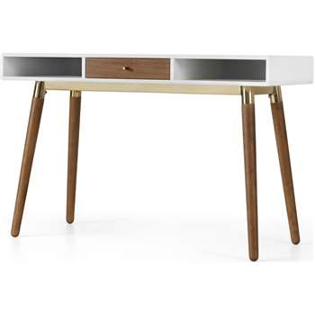 Edelweiss Desk, Walnut and Brass (H77 x W120 x D50cm)