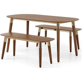 Edelweiss Dining Bench Set, Walnut & Brass (H75 x W151 x D81cm)