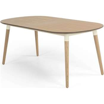 Edelweiss Extending Dining Table, Ash and White (74 x 170-210cm)