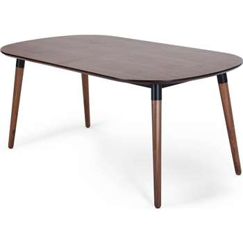 Edelweiss Extending Dining Table, Walnut and Black (74 x 170-210cm)