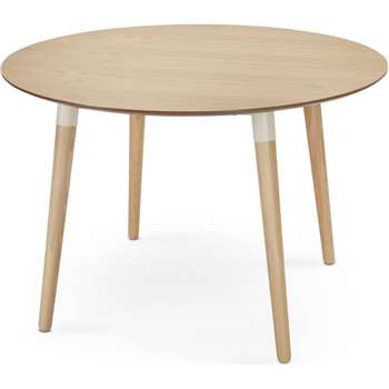 Edelweiss Round Dining Table, Ash and White (74 x 110cm)