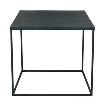 EDISON Antiqued metal industrial coffee table in black (45 x 45cm)