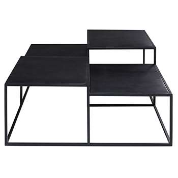 EDISON Black metal 4-top coffee table (45 x 100cm)