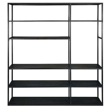 EDISON Black metal TV shelf 190 x 175cm