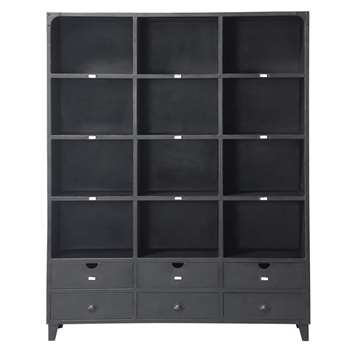 EDISON Metal industrial bookcase in black (200 x 160cm)