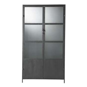 EDISON Metal Industrial Display Case in Black (H180 x W100 x D43cm)