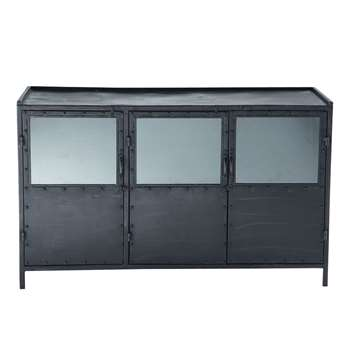 EDISON Metal Industrial Glazed Sideboard in Black (H80 x W130 x D43cm)