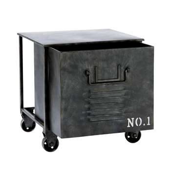 EDISON metal industrial side table on castors (40 x 39cm)