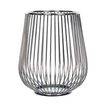 Editions Silver Effect Wire Candle Holder (H16 x W11 x D11cm)