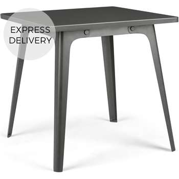 Edny 4 Seat Square Compact Metal Dining Table, Grey (H74 x W75 x D75cm)