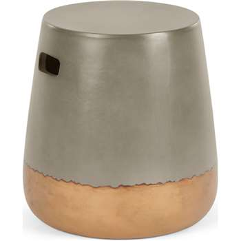 Edson Garden Stool, Gold and Grey Cement (H41 x W37 x D37cm)
