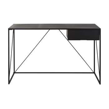 EDWIN - Black Metal 1-Drawer Desk (H77.5 x W125 x D60cm)