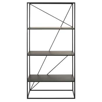 EDWIN Black Metal Shelving Unit (H180 x W85 x D40cm)