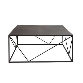 EDWIN - Square Black Metal Coffee Table (H40 x W90 x D90cm)