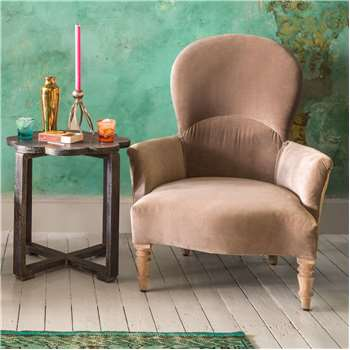 Effy Grey Velvet Armchair (H96 x W80 x D85cm)