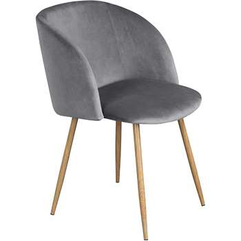 EGGREE - Mid-Century Modern Style Velvet Chair, Grey (H81.5 x W47 x D52cm)