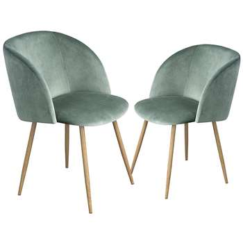 EGGREE - Set of 2 Mid-Century Modern Style Velvet Chairs, Cactus Green (H81.5 x W47 x D52cm)