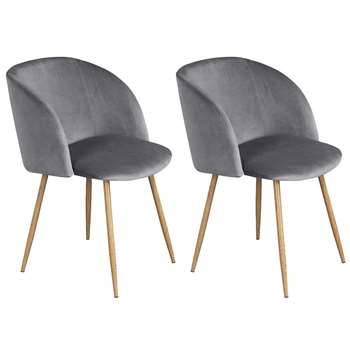 EGGREE - Set of 2 Mid-Century Modern Style Velvet Chairs, Grey (H81.5 x W47 x D52cm)