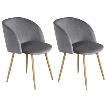 EGGREE - Set of 2 Mid-Century Modern Style Velvet Chairs, Grey (H81.5 x W47 x D52cm)