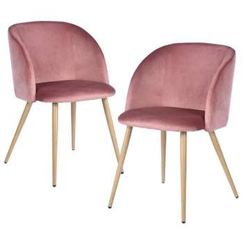EGGREE - Set of 2 Mid-Century Modern Style Velvet Chairs, Rose Pink (H81.5 x W47 x D52cm)
