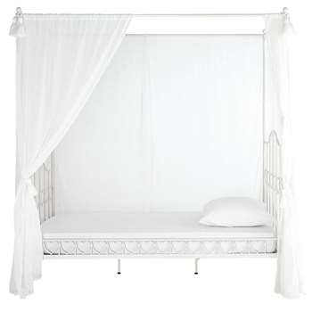 EGLANTINE Metal 90 x 190cm child's four-poster bed in ivory