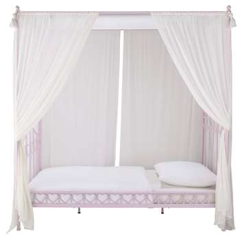 EGLANTINE Metal 90 x 190cm child's four-poster bed in pink