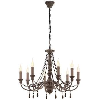 Eglo Colchester 8 Light Chandelier Wood (H110 x W71.5 x D71.5cm)