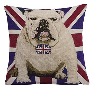 EHC British UK Flag Bulldog Dog Bow Tie Decorative Chenille Cushion Cover (45 x 45cm)