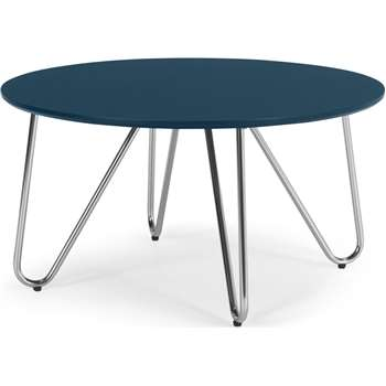 Eibar Coffee Table, Blue and Chrome (H42 x W80 x D80cm)