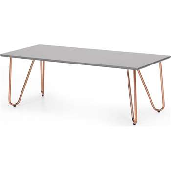 Eibar Rectangular Coffee Table, Grey and Copper (H42 x W120 x D50cm)