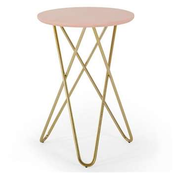 Eibar Side Table, Pink and Brass (H55 x W43 x D43cm)