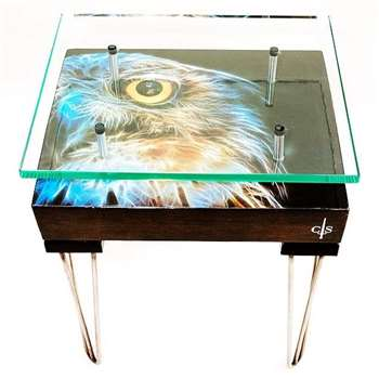Cappa E Spada - Electric Owl Side Table with Glass Top (H66 x W50.8 x D40.6cm)