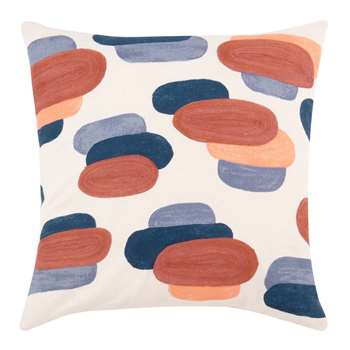 ELEONOR - Pink and Blue Cotton Cushion Cover with Graphic Print (H40 x W40cm)