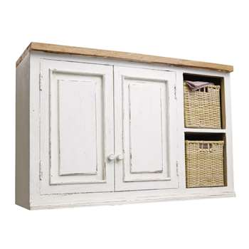 ELEONORE Mango Wood Kitchen Wall Unit in Ivory with Wicker Baskets Eleonore kitchen (H70 x W100 x D37cm)