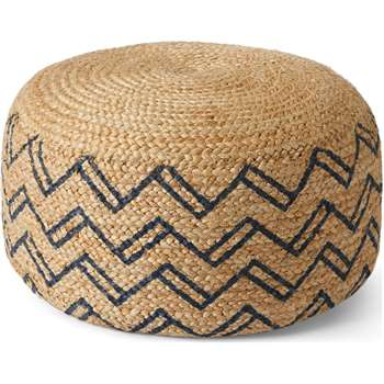 Elian Pouffe, Natural & Midnight Blue (H30 x W60 x D60cm)