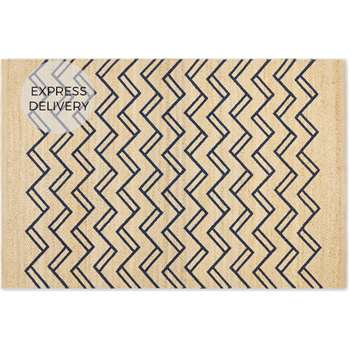 Elian Printed Jute Rug, Natural/Midnight Blue (H140 x W200cm)