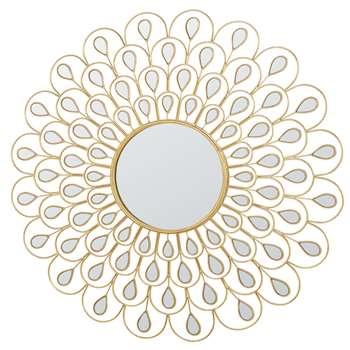 ELINE - Round Golden Metal Mirror (Diameter 131cm)